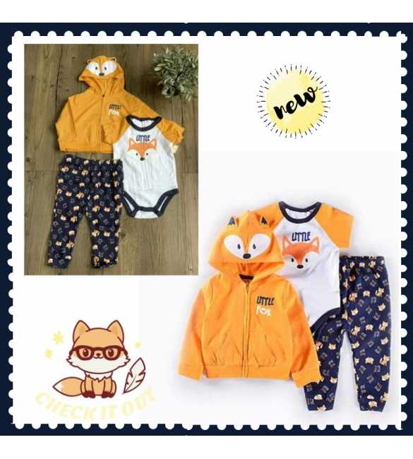 Set Jumper bayi 3in1 rubah orange