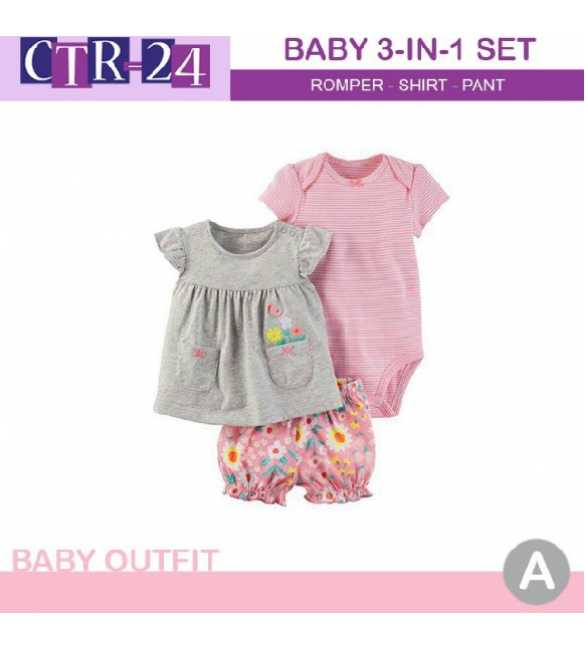 Baby Girl Carter 3in1 Blouse Gray Flower