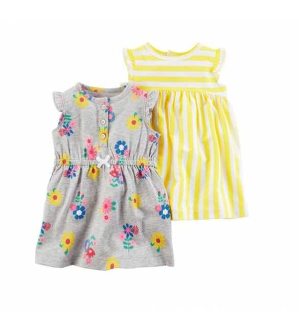 Baby Girl Carter set dress stripe yellow