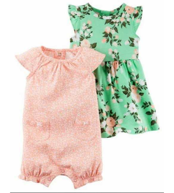 Baby Girl Set 2in1 Flower Green Dress