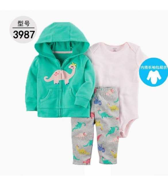 Baby Girl Set 3in1 hoodie dino green
