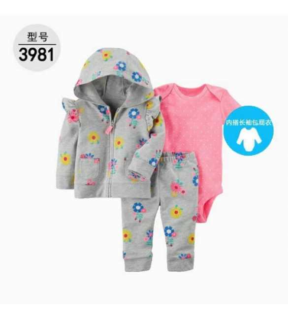 Baby Girl Set 3in1 hoodie floral gray