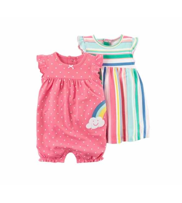 Baby Girl set 2in1 Rainbow polkadot