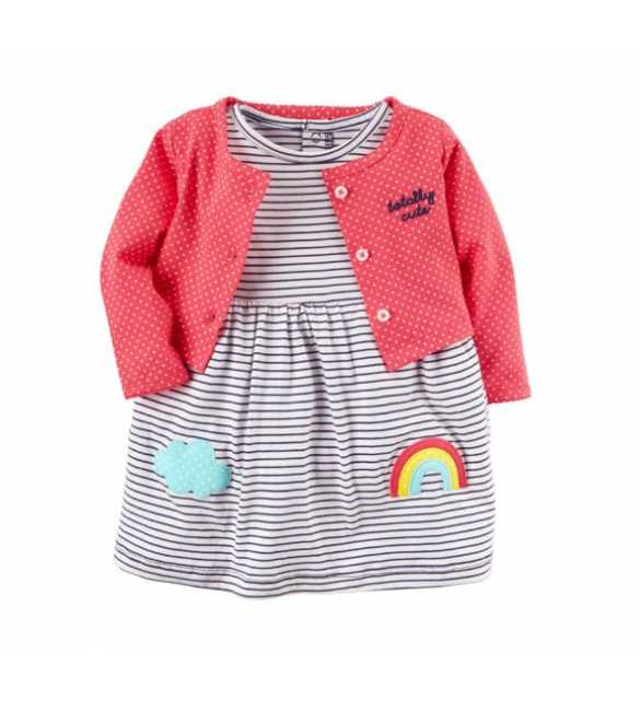 Dress Bayi Carter stripe rainbow dan cardigan