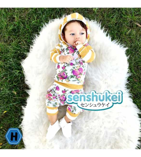 Set Senshukei Baby Girl Flower Hoodie Yellow