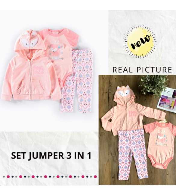 Set Jumper Bayi 3in1 Wild Pink