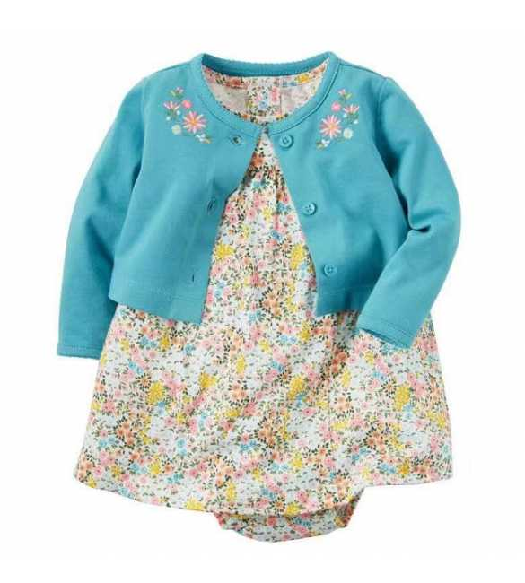 Set Dress Bayi perempuan 2in1 cardigan tosca