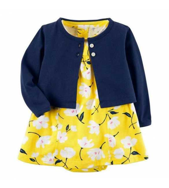 Set Dress Bayi perempuan floral Kuning cardigan navy