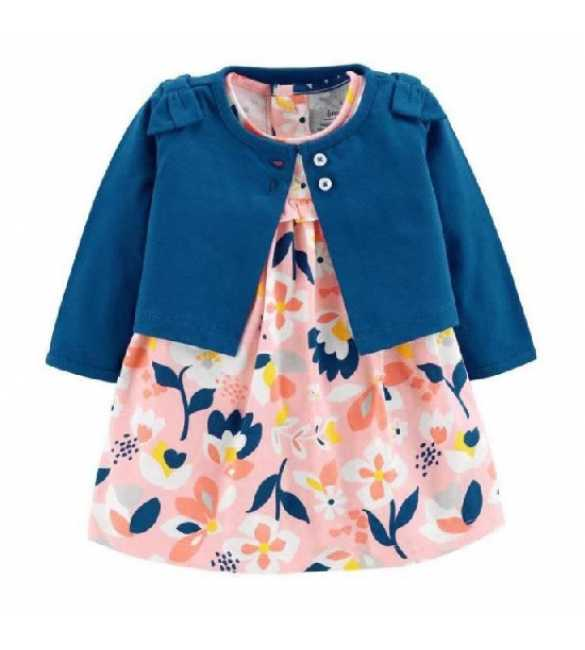 Set Dress Bayi perempuan floral cardigan navy