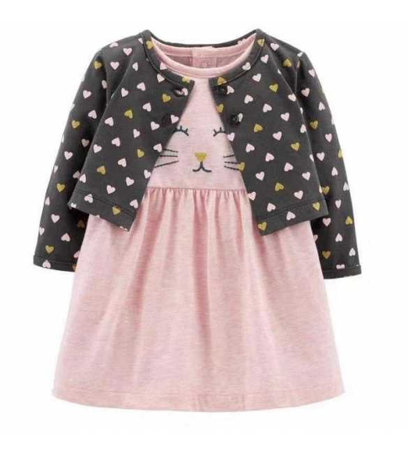 Set Dress Bayi perempuan love kitty