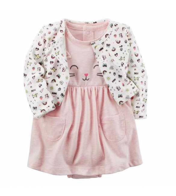 Set Dress bayi perempuan 2in1 cute kitty