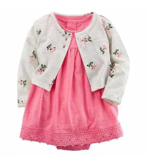 Set Dress bayi perempuan 2in1 floral cardigan