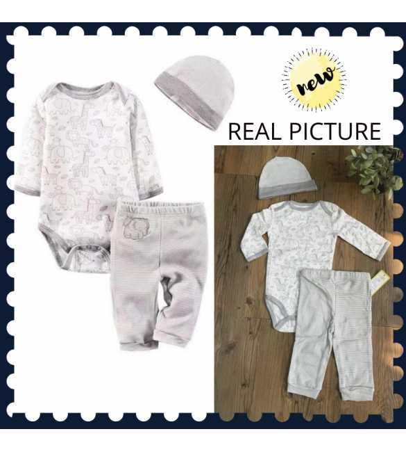 Set Baju Jumper Bayi 3in1 Putih