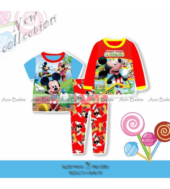 Piyama anak 3in1 Mickey Mouse