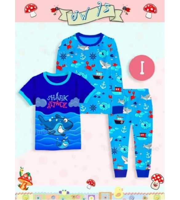Piyama anak Junior Wardrobe JW 75 I 3in1 Shark Attack (MED SIZE)