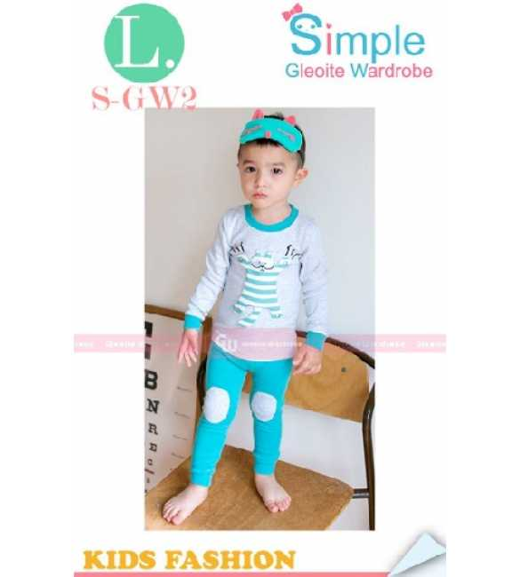 Piyama anak S-GW 2 L Cat Stripe Blue (BIG SIZE)