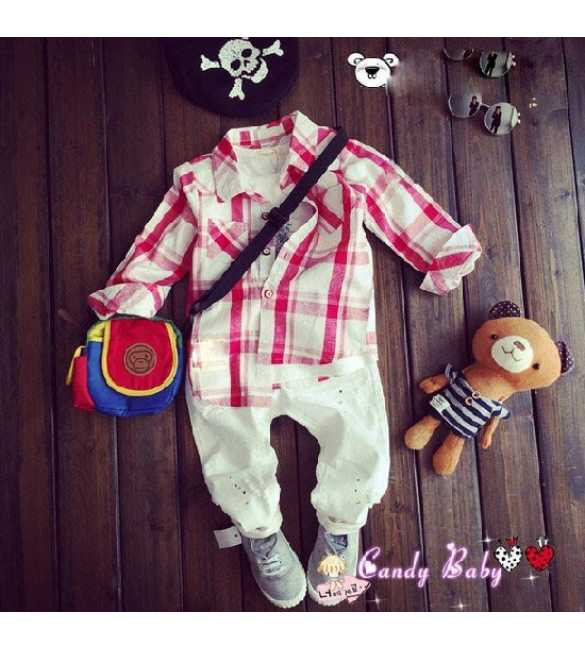 setelan candy baby shirt plaid red