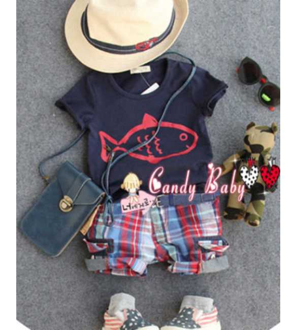 Set Candy Baby Fish Plaid Pants