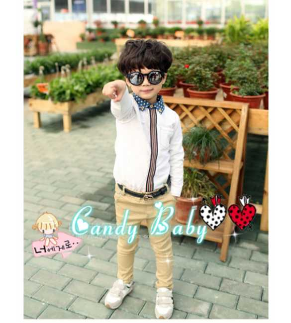 Set Candy Baby Shirt White line polkadot