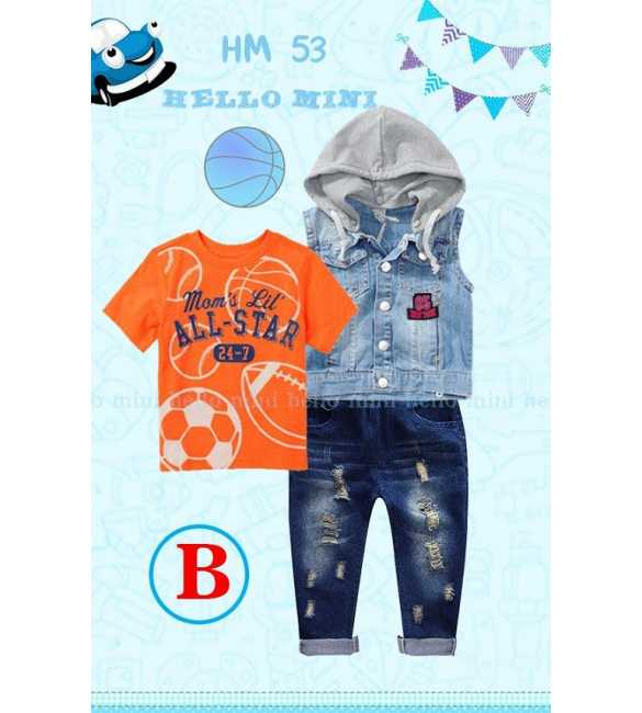 Setelan Anak Laki Hello Mini HM 53 B Set 3in1 All Star