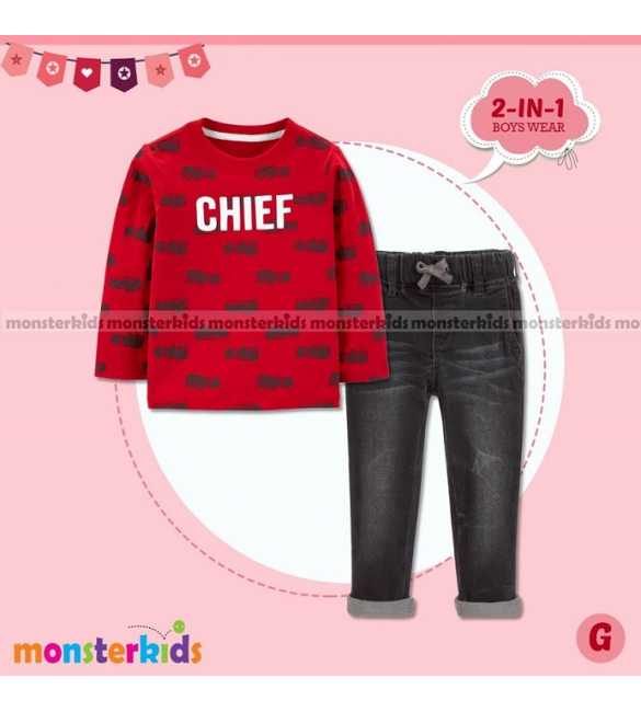 Setelan Anak Laki Monster Kids Chief Red (MED SIZE)