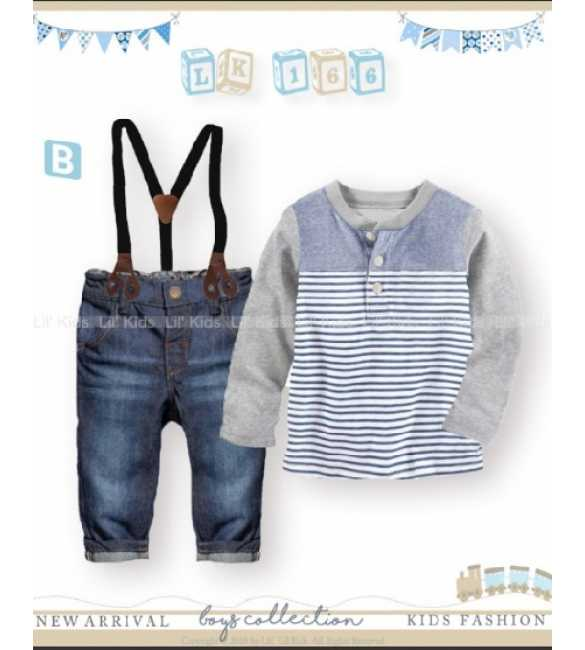 Setelan Anak Lil Kids 166 B Suspender Long Sleeve Gray Stripes (BIG SIZE)