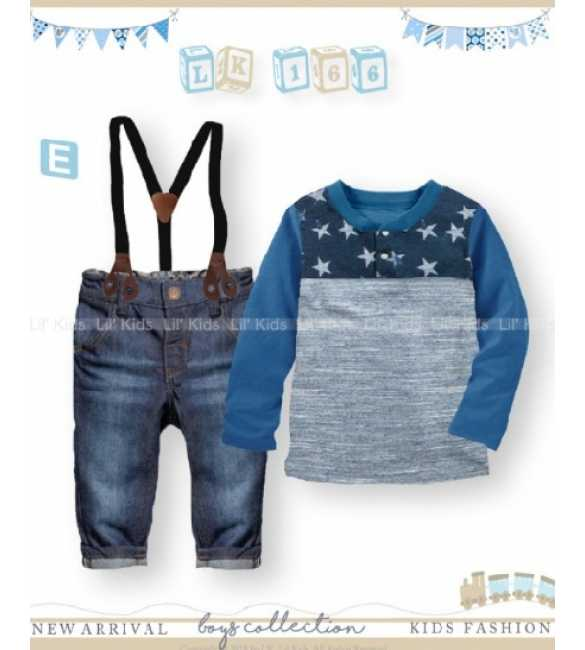 Setelan Anak Lil Kids 166 E Suspender Long Sleeve Star Blue (MED SIZE)