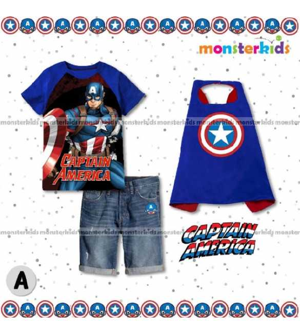 Setelan Anak Monster Kids MK 7A Captain America
