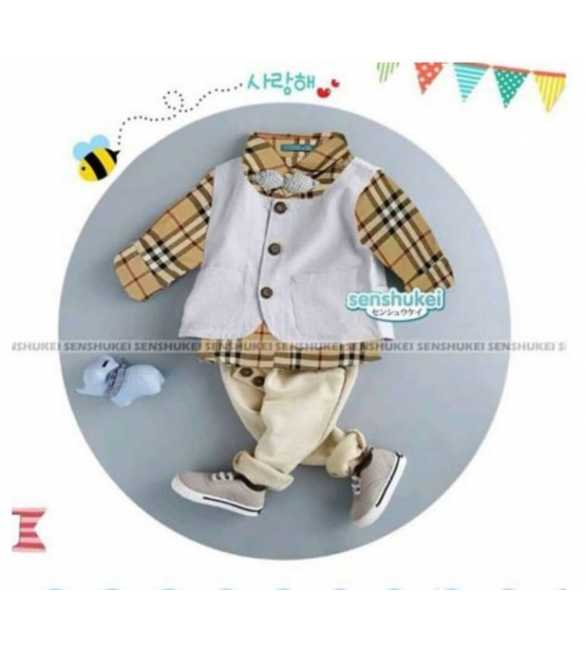 Setelan Anak Senshukei 24 J 3in1 Plaid Brown (Med Size)