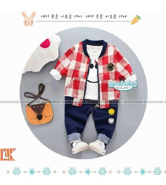 Setelan Anak Senshukei 24 L 3in1 Smile Plaid Red (Med Size)