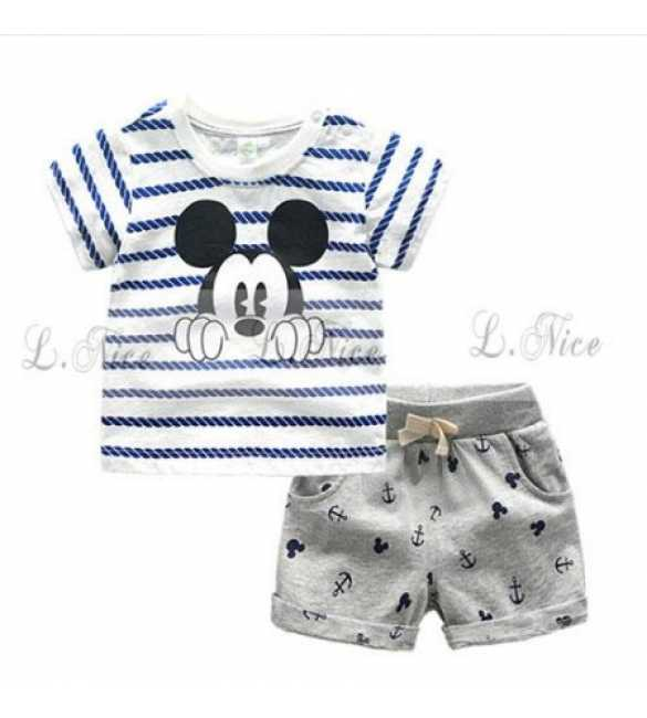Setelan L Nice 100_Mickey Shirt White Stripes (Med Size)