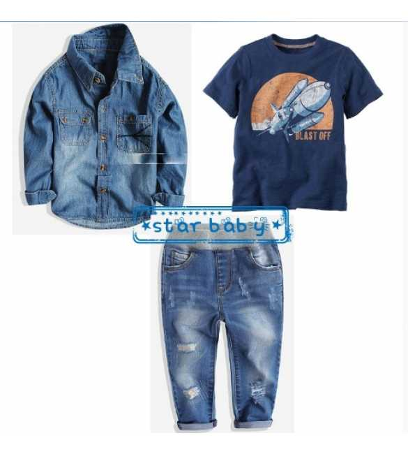 Setelan Star Baby 3in1 Blast Off Navy Jeans