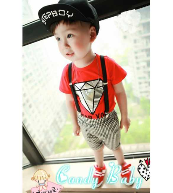 Setelan Suspender Candy Baby Diamond for You Red