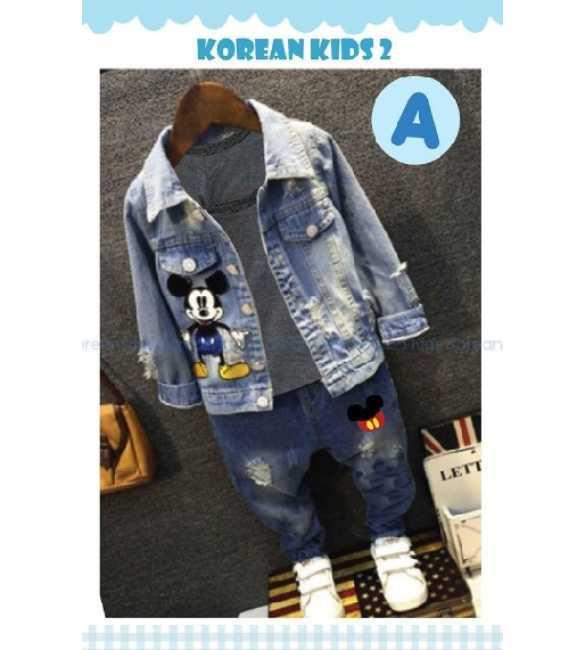 Setelan anak Korean Kids 2 A jaket jeans Mickey mouse