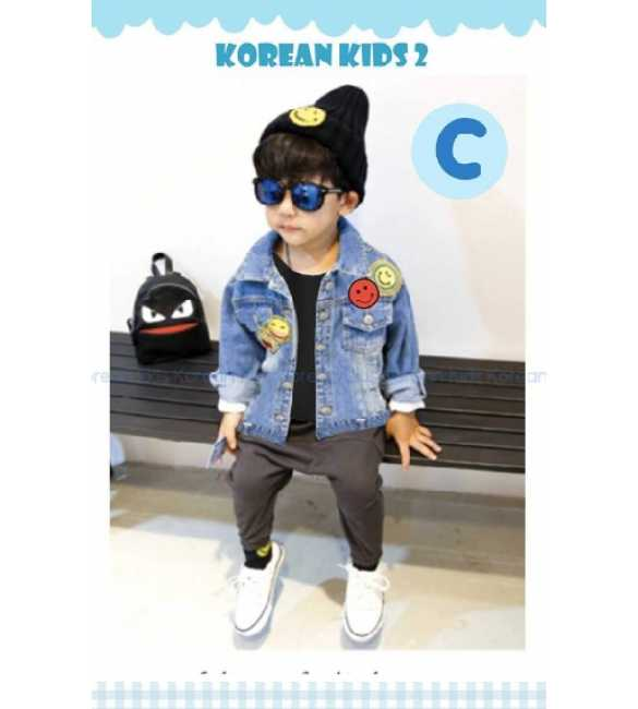 Setelan anak Korean Kids 2 C jaket jeans Smile Shirt Black