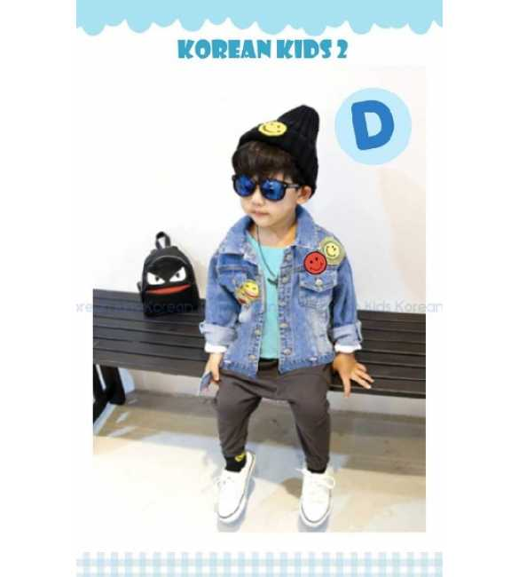 Setelan anak Korean Kids 2 D jaket jeans Smile Shirt Blue