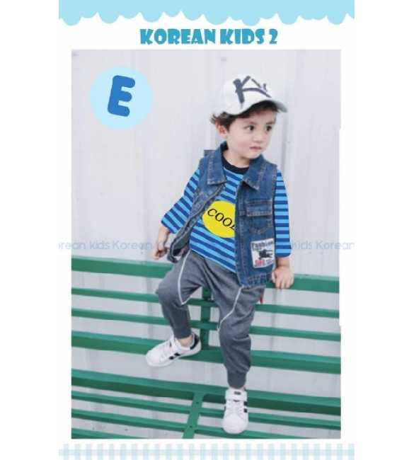 Setelan anak Korean Kids 2 E Cool Stripe Blue