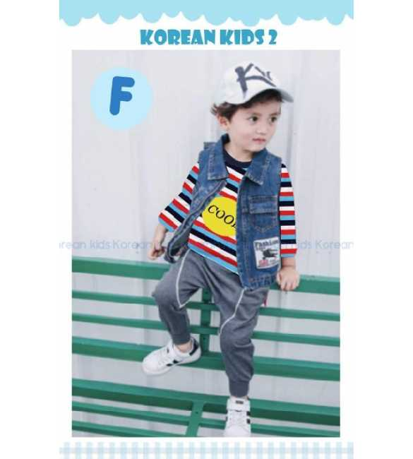 Setelan anak Korean Kids 2 F Cool Stripe Red