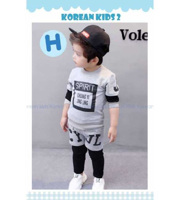 Setelan anak Korean Kids 2 H Spirit Gray