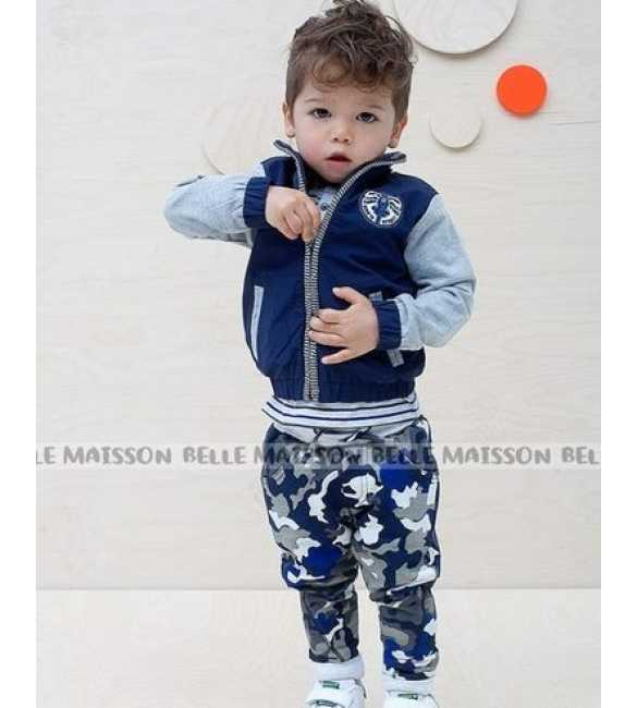 Setelan anak Laki Belle Maison 3in1 Army Blue (MED SIZE)