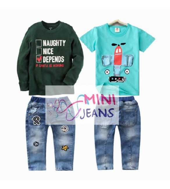 Setelan anak Mini Jeans 3in1 If Santa Asking