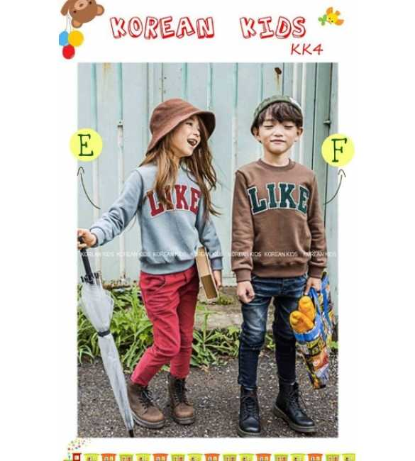 Setelan anak korean Kids LIKE Gray and Brown
