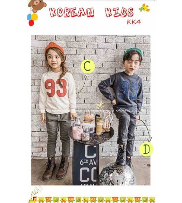 Setelan anak korean Kids number 93 gray and white