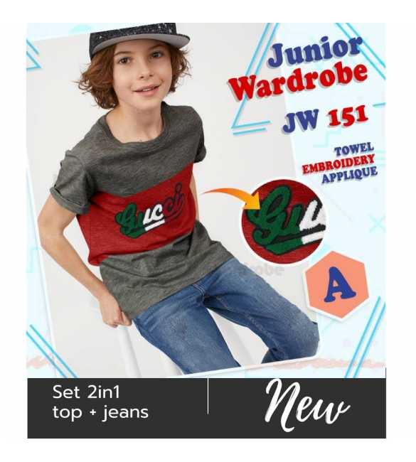 Setelan baju anak Junior wardrobe 151 A Guci Bordir_BIG SIZE