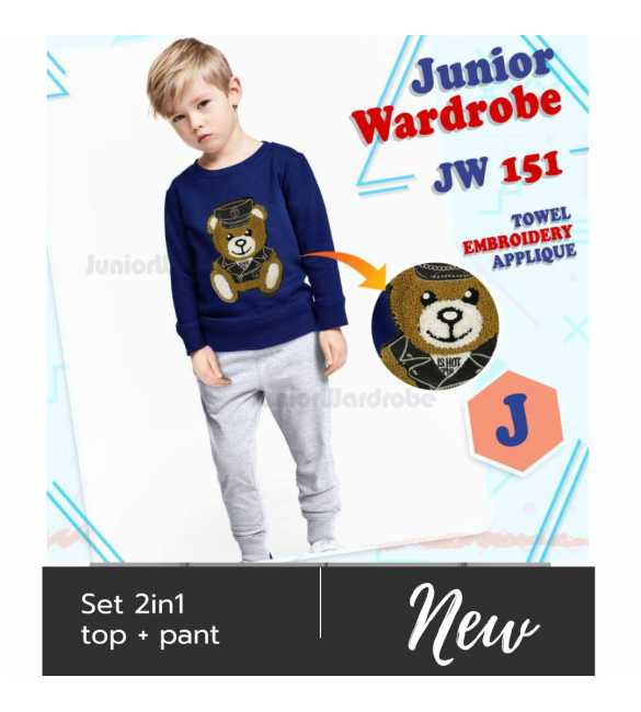 Setelan baju anak Junior wardrobe 151 J Moschino bear blue_BIG SIZE