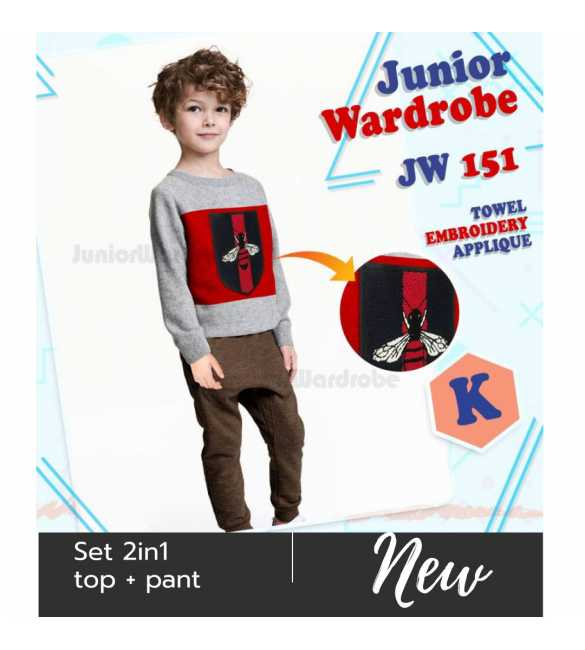 Setelan baju anak Junior wardrobe 151 K  Bordir Bee_BIG SIZE