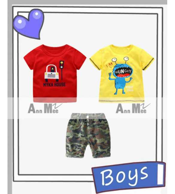 Setelan baju anak laki Ann Mee 3in1 Hungry Monster (MED SIZE)