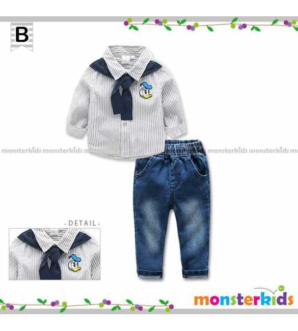 Setelan kemeja anak Monster Kids Donald Stripes (BIG SIZE)