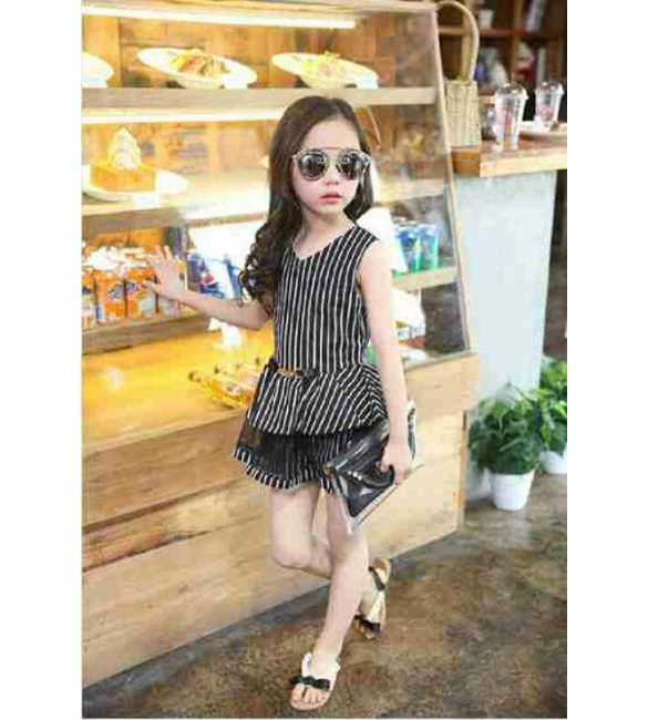 Dress Anak Korea Stripe Black