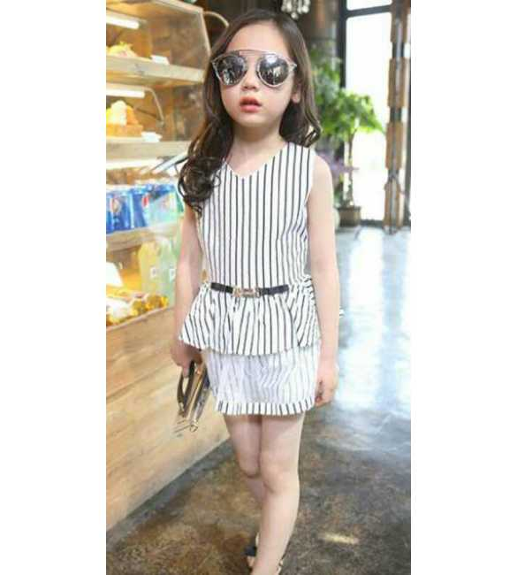 Dress Anak Korea Stripe White